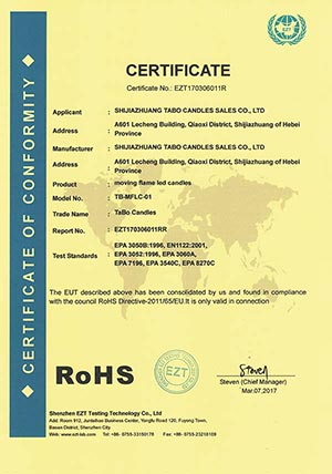 RoHS Certificate For Moving Flame Led Candles