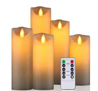 Set Of 5 Moving Wick Flameless Led Candles With Timer For Church Wedding Hotel