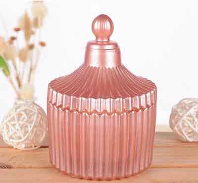 Retro Style Aromatherapy Colored Small Crystal Embossed Glass Jar Candles