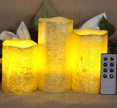 Battery Operated Gold Metallic Wax Led Candles With Rustic Golden And Silver Color