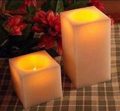 Square Ivory Led Candles/Paraffin Wax Led Candle Light Set Small Medium Big Assorted For Birthay Wedding