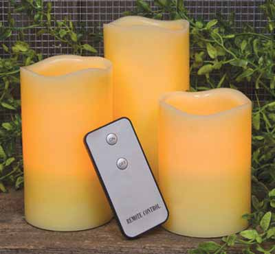 3pcs/Set Ivory Led Candles Battery Operated Real Wax Flickering Flame LED Candle Christmas Home Decoration Set With 2 Key Remote