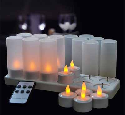 Remote Ready Amber Yellow Light Flickering Rechargeable LED Tealight Candle Set of 12 with Candle Container for Promotion