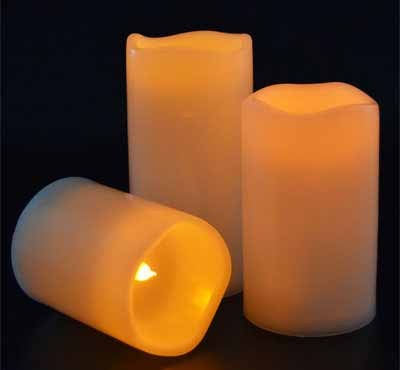 LED Flameless Outdoor Candle Set Votive Amber Yellow Flickering LED Candles Set of 3 Operated By 2AA Battery