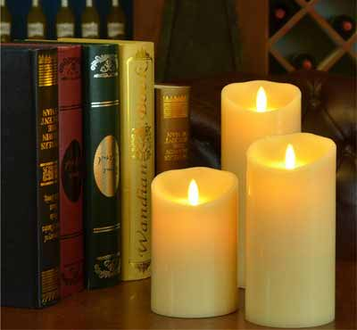 Battery Operated Moving Flame Led Pillar Candles With Timer And Remote