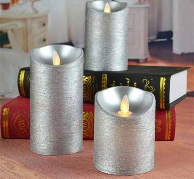 Battery Operated Silver Color Moving Wick Flameless Led Pillar Candles