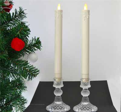 Dinner Moving Flame Warm Light 9 Inch Ivory Flameless Plastic Led Taper Candle With Dripped Tears Effect