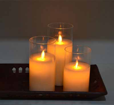 Flamless Moving Wick Led Glass Pot Candle