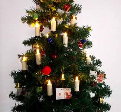 Electric Dancing Flame Pillar Flickering Christmas Tree Realistic Flameless Candle