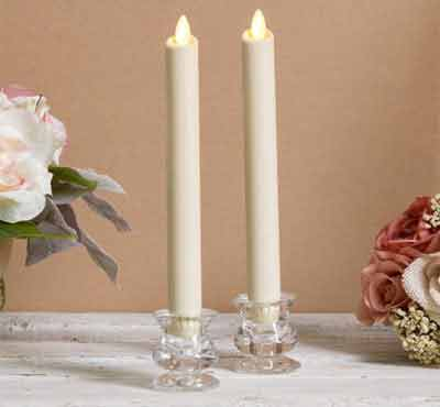 Dancing Flame Window Windproof Smokeless Ivory Wax Wedding Flameless Timer Taper Candle Set