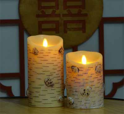 Moving Flame Led Birch Candle For Restaurant Lighting Rural Style Decoration