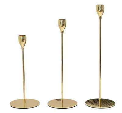 Slim Taper Candle Holder In Gold