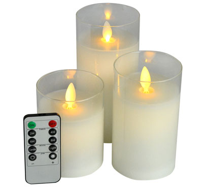 Moving Wick Glass Jar Led Candles