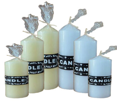 White Church Pillar Candles