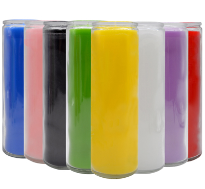 Solid Color Glass 7 Day Candles