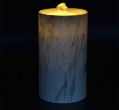 Rechargeable Flameless Candle Fountain With Plastic Imitation Marble