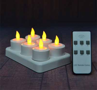 6Pcs LED Rechargeable Tealight Candle with Charging Base Frosted Holder with Remote Control for Christmas Wedding