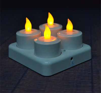 New 4pcs/set Rechargeable Flameless LED Tealight Candle Light with Frosted Holder Remote Based on UK.US AU Plug
