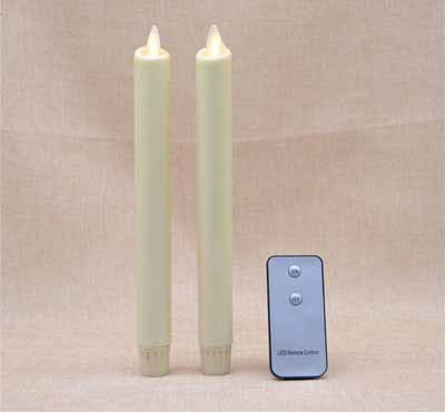 Real-Flame Effect Wax-Dipped Led Taper Candles With Flickering Wick