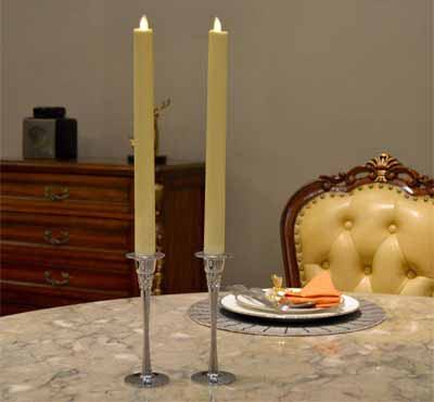 Decoration 12 Inches Set Of 2 White Moving Flame Led Taper Wedding Candle