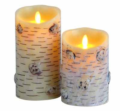 Moving Flame Birch Bark Flameless Realistic LED Candles With Remote Battery