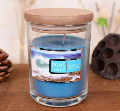 SPA Flameless Scented Soy Wax Candles In Glass Jars With Wood Cover