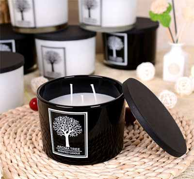 Tree Shape Simple Pattern Soy Wax Glass Jar Candles With Stainless Steel Cover
