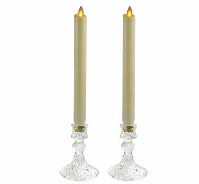 Ribbed Unique Mercury Glass Candlestick Holders