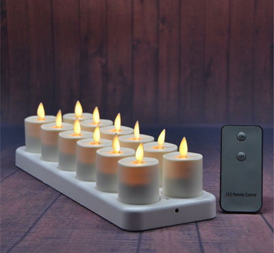 Set Of 12 Moving Wick Rechargeable Votives Led Tealight Candles