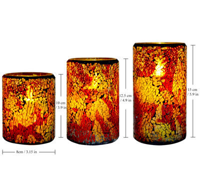 Moving Wick Glass Mosaic Flameless Wax LED Candles