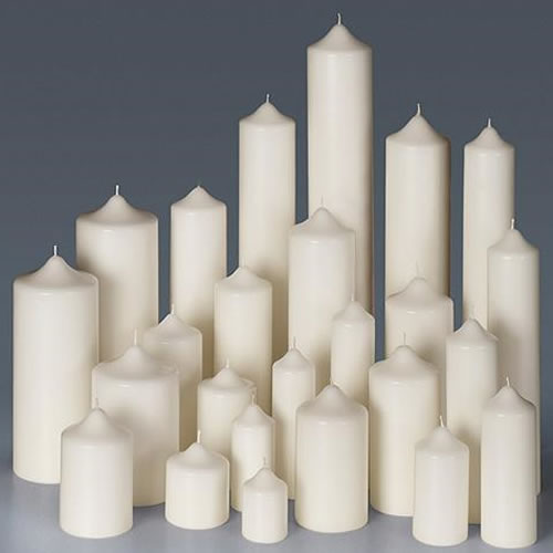 scented white pillar candles, cheap church pillar candles, large church candles