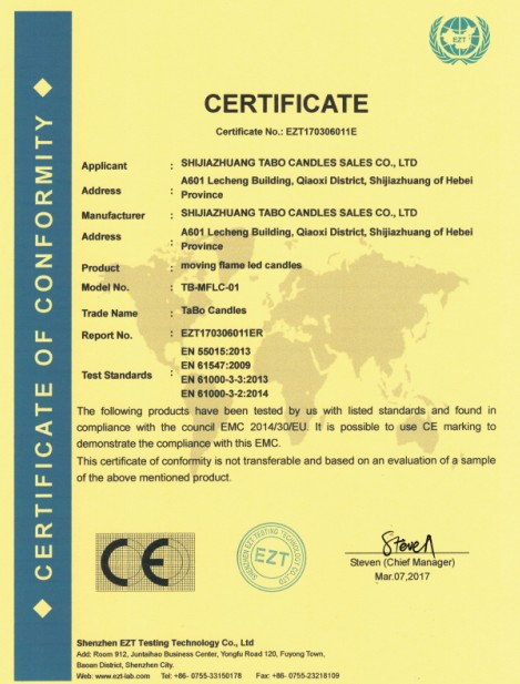 CE Certificate For Moving Flame Led Candles